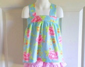 Apron Style Pinafore Top and Bloomers Set Shorts Set for baby or toddler girls - 3 mos to 8 - Fresh Blooms in Ice - Tea Cakes Collection