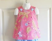 REVERSIBLE Cross-Back Pinafore Top and Bloomers Set baby or toddler - 3 mos to size 5 - Birdsong in Rose - Chinoiserie Chic Collection