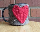 Knitted cup cozy mug cozy in barley brown with red heart