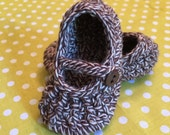 100% Cotton Mary Jane Slippers for Baby Girl in Brown and Cream, Size 0-3 months