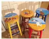 """Painted bar stool // Nautical round top hand painted 24"""" stool"""