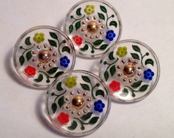 Set of Four Vintage Glass Buttons with Painted Flowers on Reverse
