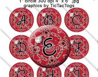 Red Bandana Bling Bottle Cap Images Bow Bling 1 Inch Circle A-Z 4x6 Alphabet Alpha - Instant Download - BC499
