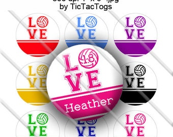 Editable Colorful Volleyball Love Bottle Cap Images Digital Art Set 1 Inch Circle 4x6 JPEG - Instant Download