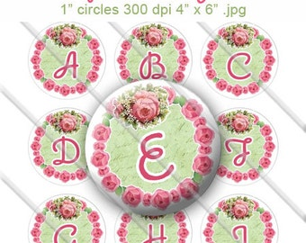 Shabby Rose Garland Bottle Cap Digital Images Set 1 Inch Circle Alphabet Alpha A-Z 4X6 - Instant Download - BC516