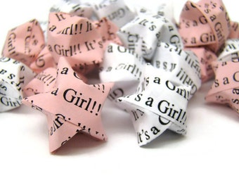 100 Origami Lucky Stars - Baby Shower - It's A Girl
