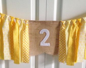 Sunshine High Chair Banner -Birthday Banner -Yellow White -Photo Prop -Cake Smash -1st Birthday -Rag Tie Garland -Burlap Banner