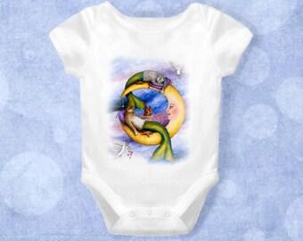 Baby Infant Creeper Onesie Bodysuit One Piece Cat Mermaid 29 Fantasy art L.Dumas