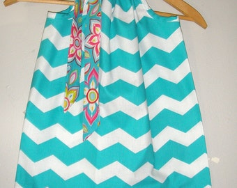 Teal  Chevron  Floral trim  dress  fabric pillowcase dress sizes 3,6,9,12,18 months , 2t, 3t, 4t, 5t, 6, 7, 8 10, 12