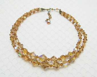 Vintage Crystal Necklace Gold Champagne Bridal Jewelry N6096