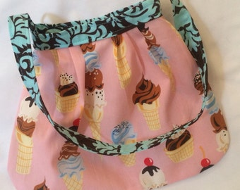 Little Girls Mod Purse in Robert Kaufman pink Ice Cream Cones Sweet Tooth READY TO SHIP