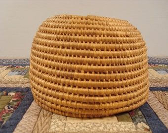 Wonderful vintage coiled woven basket