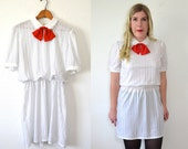 Polka Dot Dress Black and White  - Little White Dress - Peter Pan Dress