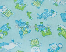 Fun Mod Animals - Vintage Fabric Whimsical Novelty Gingham Polka Dots Puppies Kittens Ponies Bears Bunnies