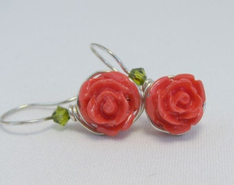 Rose Flower Earrings Wire Wrapped Sterling Silver Olivine Swarovski Crystal Accent