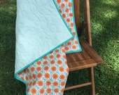 NEW YEAR SALE orange and aqua organic modern whole cloth quilt, modern quilt, modern baby quilt, contemporary quilt, modern toddler quilt