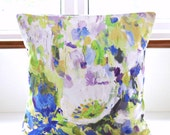 16 inch decorative pillow cover floral art , blue green white lilac flowers cushion cover