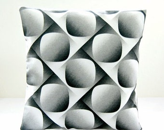 black grey white retro decorative pillow cover, gray cushion cover 16 inch