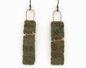 Bronze Earrings with Olmec Script
