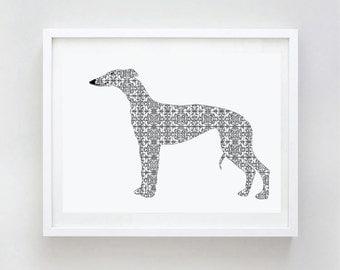 Whippet Dog Print - Fine art print, Whippet art, dog silhouette, floral design, damask pattern