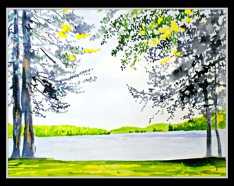 Spring on Friends Lake 16x20 Double Matted Decorative Print