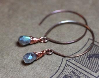 Antiqued Copper Hoop Earrings Labradorite Earrings Wire Wrapped Gemstone Earrings Rustic Jewelry