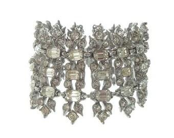 Bogoff Vintage Designer Bracelet, Stunning Wide Rhinestone Statement Cuff, 1940s Fine Vintage Jewelry, Wedding Jewellery