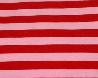 "Red pink 1/2 "" stripes cotton lycra knit 1 yard"