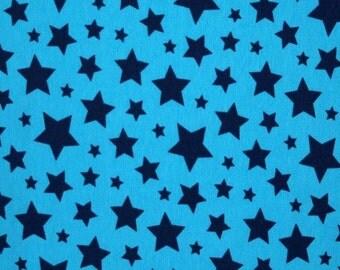 Blue/blue stars 1 yard cotton lycra knit