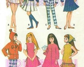 """Vintage 9"""" Doll Clothes Pattern Fits Skipper, Pepper, Blythe and Friends 7841"""