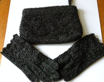 Vtg Black Beaded Evening Gloves and Beaded Purse