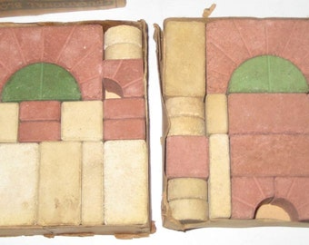 Vintage Stone Toy Building Blocks - Stone Educational Blocks for Assemblage, Altered Art, Crafts, etc.