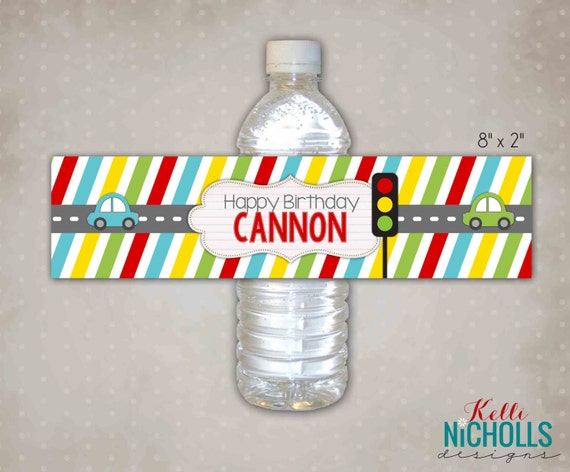 Car Transportation Birthday Water Bottle Labels, Custom Stickers, Stop & Go Decorations, Instant Download