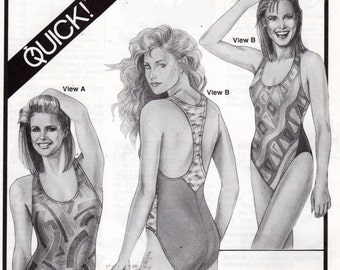Stretch & Sew 1363  Misses T Back Swimsuit Pattern Make it in Minutes Womens Sewing Pattern Bust 30 - 46 UNCUT