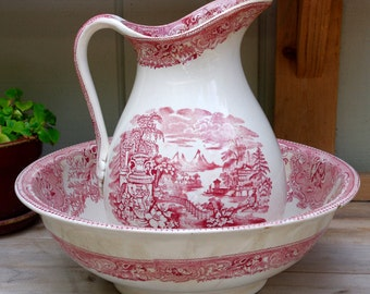 Antique Red Transferware Pottery Water Pitcher and Bowl Mycenae W A A