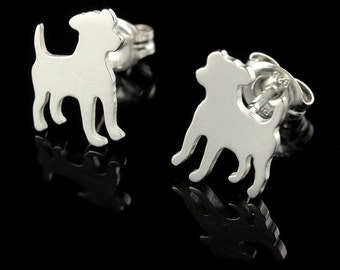 Jack Russell Terrier Sterling Silver Silhouette Earring Studs