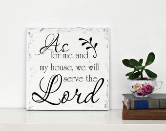 "Christian Wall Decal SM "" As For Me and My House We Will Serve the Lord "" Vinyl Lettering LDS Scripture Wall Sticker"