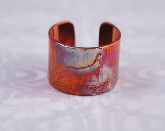 Copper hare rabbit earcuff, coloured copper earcuff, etched earcuff