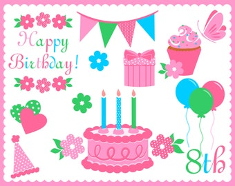 Birthday Clipart Digital Elements PNG Transparent Background 600 dpi Clip Art Party Invitations Scrapbooking