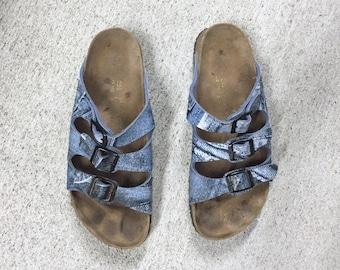 vintage Birkenstocks 41 denim print Birkenstock sandals, Mens size 8 / Womens size 10