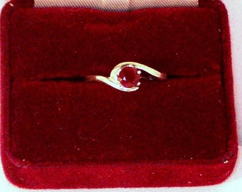 Genuine Gemstone and Sterling Silver Ring - NC Ruby Set in Sterling Silver Ring - Size 8