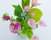 Blooming Miniature Hydrangea and Bird of Paradise Polymer Clay Flowers Supplies in glass vase