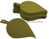 Paper leaves Dark olive green leaves, Wedding Place cards, Wish tags, Escort cards,  Hole in stem 4 inch x 2 inch