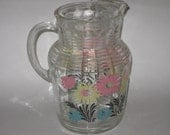 "Anchor Hocking Pitcher 1950's Retro Design Floral 9.5"" Vintage Glassware"