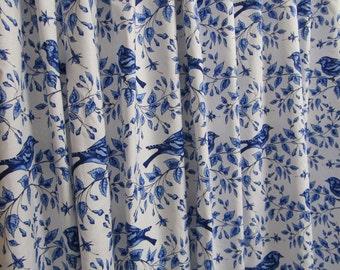 Bird Shower Curtain, Blue White Shower Curtain, Cottage Style, Nature-Inspired Bathroom Decor, Blue Fabric Shower Curtain