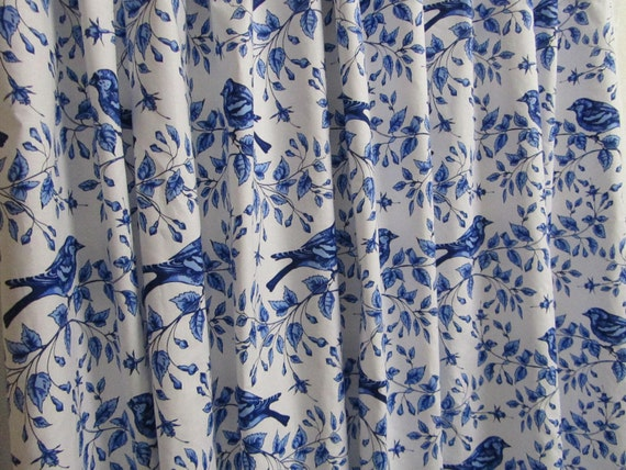 Bird shower curtain blue white shower curtain cottage style Nature inspired shower curtains