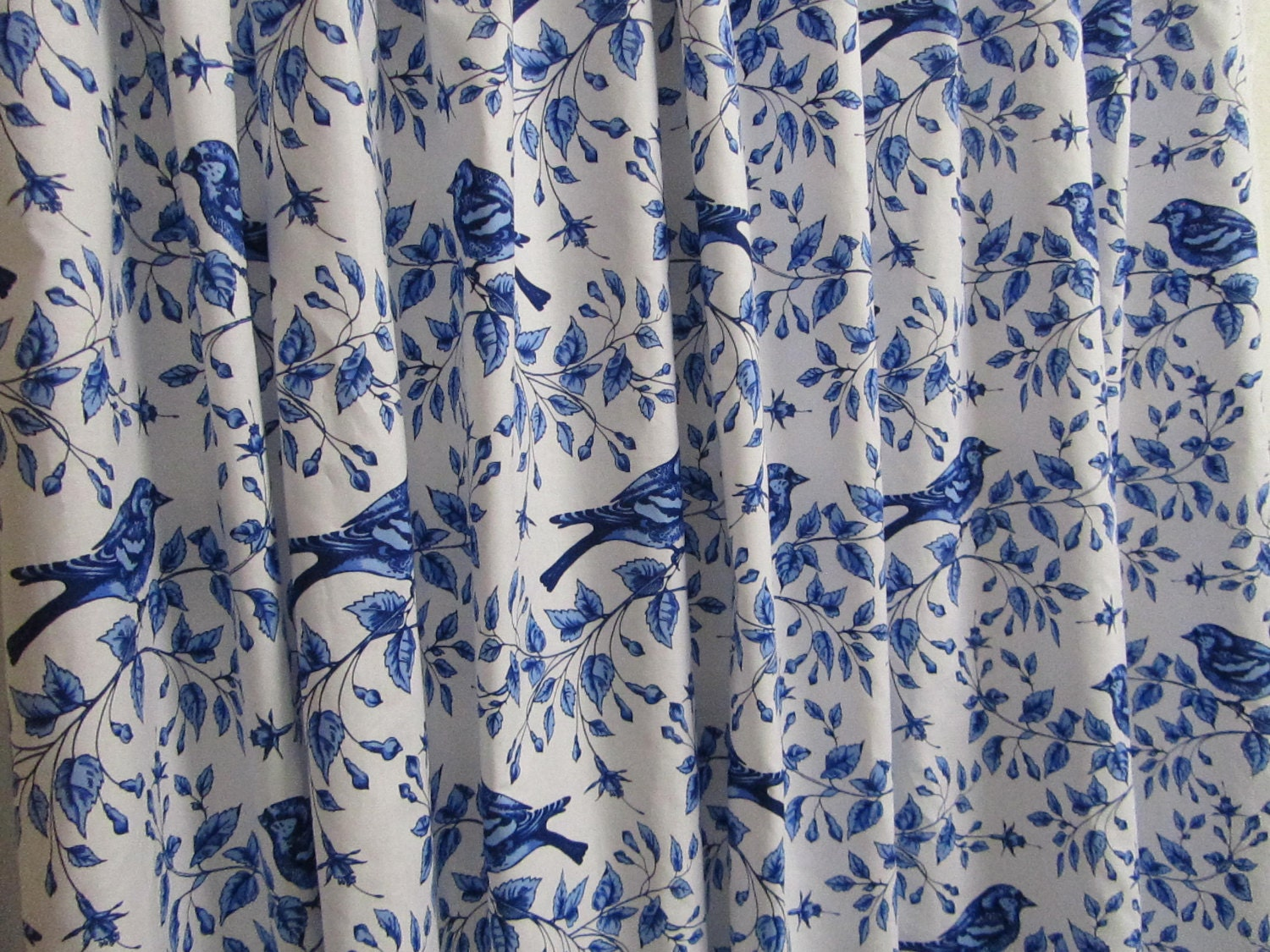 Bird Shower Curtain Blue White Shower Curtain Cottage Style
