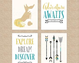 Adventure Awaits, Boy Wall Art, Kids Room Art, Nursery Prints, Kids Wall Art, Nursery Artwork // Art Print or Canvas // N-XW11-4PS AA1 03P