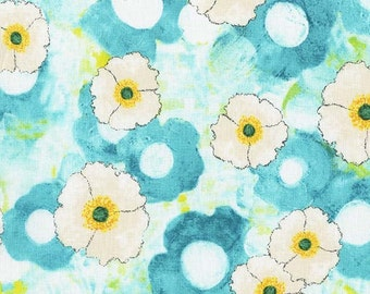 Laura Gunn Fabric Vignette Spring All Over in Aqua Half Yard