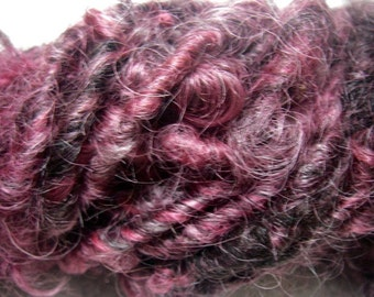 Handspun Corespun Hand Dyed Curly Bulky Wool Embellishment Bulky Yarn in Red Wine Shades by KnoxFarmFiber for Knitting Crochet Felting